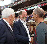 New Jersey Governor Jon S. Corzine shakes hands with United States head coach Bob Bradley prior to the start of the match. The men's national teams of the United States and Argentina played to a 0-0 tie during an international friendly at Giants Stadium in East Rutherford, NJ, on June 8, 2008.