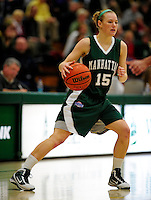 5 December 2009: Manhattan College Jaspers' guard Abby Wentworth, a Junior from Portland, Maine, in action against the University of Vermont Catamounts at Patrick Gymnasium in Burlington, Vermont. The Catamounts defeated the visiting Jaspers 78-59 to mark the Lady Cats' second home win of the season. Mandatory Credit: Ed Wolfstein Photo