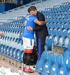 15.05.2021 Rangers v Aberdeen: James Tavernier hugs Steven Gerrard