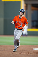 Kyle Tucker (30) of the Buies Creek Astros rounds the bases after hitting a 3-run home run against the Winston-Salem Dash at BB&T Ballpark on April 15, 2017 in Winston-Salem, North Carolina.  The Astros defeated the Dash 13-6.  (Brian Westerholt/Four Seam Images)
