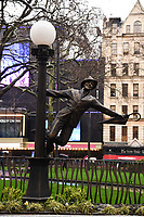 "Gene Kelly statue unvieled at the launch of ""Scenes in the Square"" statue trail in Leicester Square, London.<br /> <br /> ©Ash Knotek  D3558 27/02/2020"