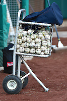 A ball cart prior to the game as the Sacramento River Cats took on the Salt Lake Bees at Smith's Ballpark on April 5, 2014 in Salt Lake City, Utah.  (Stephen Smith/Four Seam Images)
