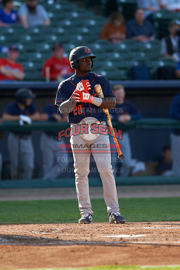 Bowling Green Hot Rods right fielder Tony Pena (20) during a Midwest League game against the Peoria Chiefs at Dozer Park on May 5, 2019 in Peoria, Illinois. Peoria defeated Bowling Green 11-3. (Zachary Lucy/Four Seam Images)