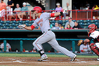 Harrisburg Senators designated hitter Jimmy Van Ostrand #16 during a game against the Erie Seawolves on July 2, 2013 at Jerry Uht Park in Erie, Pennsylvania.  Erie defeated Harrisburg 2-1.  (Mike Janes/Four Seam Images)