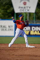 New York Mets second baseman Robinson Cano (4), on rehab assignment with the Syracuse Mets, turns a double play during a game against the Charlotte Knights on June 11, 2019 at NBT Bank Stadium in Syracuse, New York.  (Mike Janes/Four Seam Images)