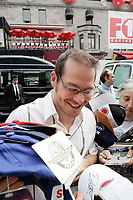 Formula one driver jacques Villeneuve makes his way to his club Newtown here in Montreal on Crescent street, while some medias are are beeing deeing access because the Press Conference is a private event