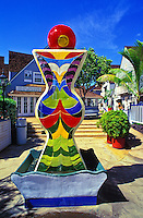 A colorful sculpture at the entrance to Lahaina's 505 Front Street, which features shops, restaurants and galleries.