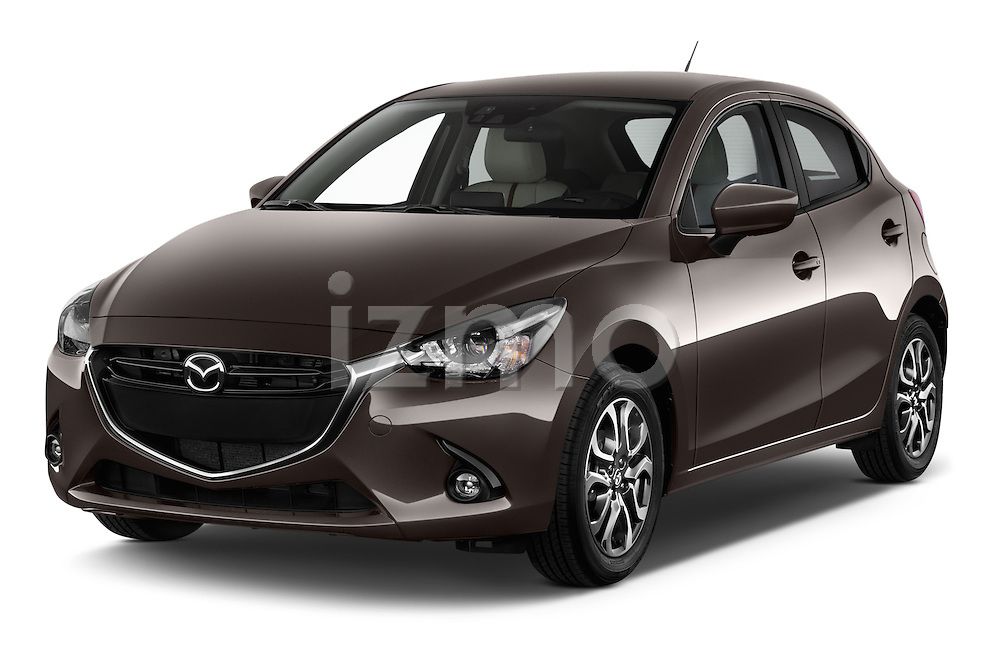 2015 Mazda Mazda2 Pulse Edition 5 Door Hatchback 2WD Angular Front stock photos of front three quarter view