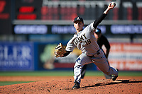 Army West Point relief pitcher Cam Opp (19) delivers a pitch during a game against the Michigan Wolverines on February 17, 2018 at First Data Field in St. Lucie, Florida.  Army defeated Michigan 4-3.  (Mike Janes/Four Seam Images)