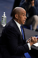 United States Senator Cory Booker (Democrat of New Jersey) speaks during a Senate Judiciary Committee business meeting prior to the fourth day for the confirmation hearing of President Donald Trump's Supreme Court nominee Judge Amy Coney Barrett on Thursday, October 15, 2020.<br /> Credit: Greg Nash / Pool via CNP /MediaPunch