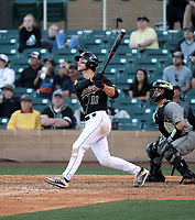 Tate Samuelson of the  Cal Poly Mustangs drives in the winning run in the bottom of the 9th inning to defeat Vanderbilt, 9-8, in the last game of the MLB4 college tournament at Salt River Fields on February 16, 2020 in Scottsdale, Arizona (Bill Mitchell)