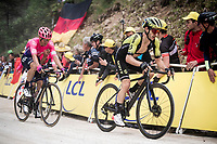 Adam Yates (GBR/Mitchelton-Scott) followed by Michael Woods (CAN/EF Education First) with 350m to go up the steep, graveled finish towards La Planche des Belles Filles finish line<br /> <br /> Stage 6: Mulhouse to La Planche des Belles Filles (157km)<br /> 106th Tour de France 2019 (2.UWT)<br /> <br /> ©kramon