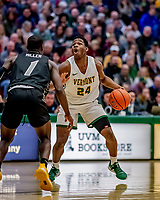 18 December 2019: University of Vermont Catamount Guard Ben Shungu, a Redshirt Junior from Burlington, VT, in first half action against the UNC Greensboro Spartans at Patrick Gymnasium in Burlington, Vermont. The Spartans edged out the Catamounts 54-53 in the final minutes of play. Mandatory Credit: Ed Wolfstein Photo *** RAW (NEF) Image File Available ***