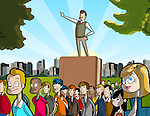 Illustrative image of man on book guiding crowd representing leadership