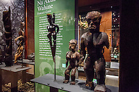 "A Hawaiian female deity tiki exhibit called ""Na Akua Wahine"" at the Bishop Museum, Honolulu, O'ahu."
