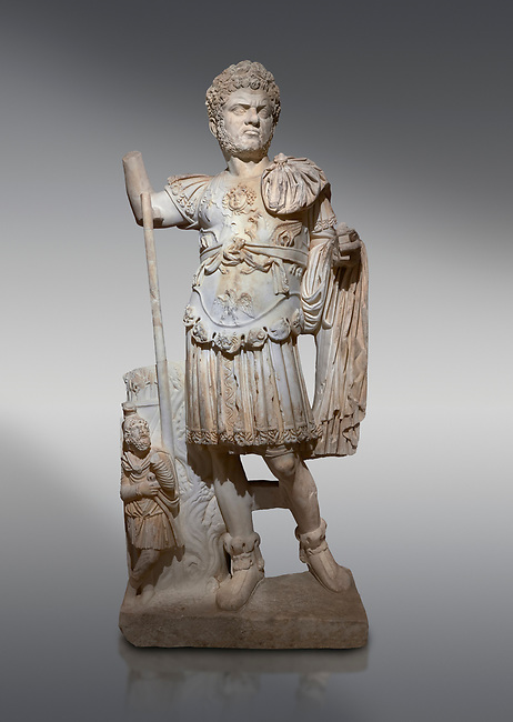 Roman statue of Emperor Caracalla. Marble. Perge. 2nd century AD. Inv no  2014/194. Antalya Archaeology Museum; Turkey.<br /> <br /> Caracalla Roman emperor from 198 to 217 AD. He was a member of the Severan Dynasty, the elder son of Septimius Severus and Julia Domna. Co-ruler with his father from 198, he continued to rule with his brother Geta, emperor from 209, after their father's death in 211. He had his brother murdered later that year, and reigned afterwards as sole ruler of the Roman Empire.