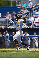 West Virginia Black Bears first baseman Huascar Fuentes (51) at bat during a game against the Batavia Muckdogs on June 25, 2017 at Dwyer Stadium in Batavia, New York.  West Virginia defeated Batavia 6-4 in the completion of the game started on June 24th.  (Mike Janes/Four Seam Images)