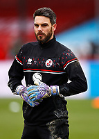 10th January 2021; Broadfield Stadium, Crawley, Sussex, England; English FA Cup Football, Crawley Town versus Leeds United; Glenn Morris goal keeper for Crawley during warm up
