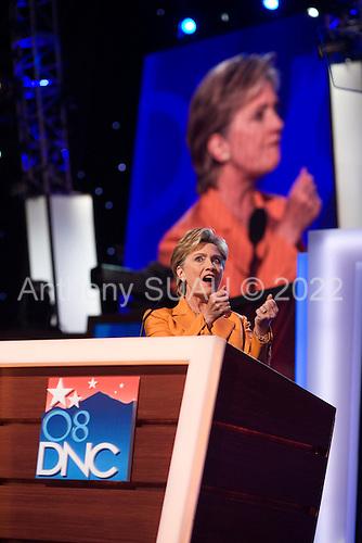 Denver, Colorado<br /> August 26, 2008<br /> <br /> Senator Hillary Clinton speaks at the Pepsi Center  -Democratic National Convention.