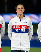 ORLANDO, FL - FEBRUARY 24: Carli Lloyd #10 of the USWNT stands for the national anthem before a game between Argentina and USWNT at Exploria Stadium on February 24, 2021 in Orlando, Florida.