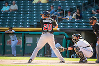 Matt McBride (20) of the Albuquerque Isotopes at bat against the Salt Lake Bees in Pacific Coast League action at Smith's Ballpark on June 8, 2015 in Salt Lake City, Utah.   The Bees defeated the Isotopes 10-7 in game one of a double-header.(Stephen Smith/Four Seam Images)