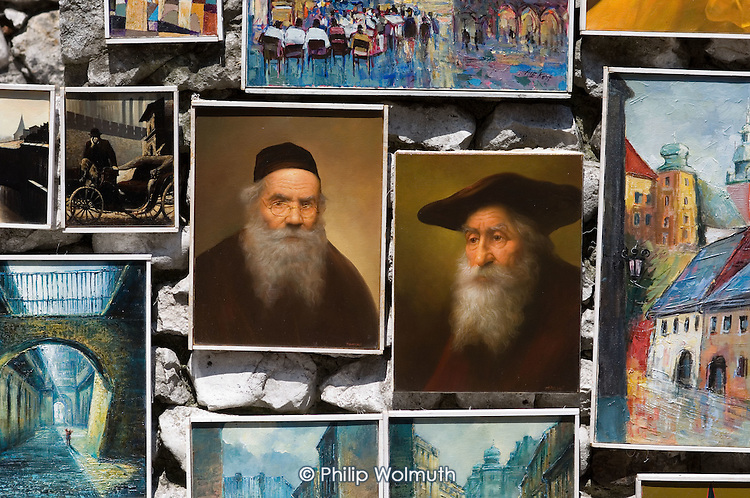 Tourist paintings for sale in Krakow.  One of a number of ventures set up by local non-Jewish Poles to exploit the city's Jewish history by catering to growing tourist interest in Holocaust memorabilia.