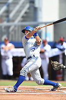 Davis Schneider (9) of the Bluefield Blue Jays follows through on his swing during a game against the Danville Braves at American Legion Post 325 Field on July 28, 2019 in Danville, Virginia. The Blue Jays defeated the Braves 9-7. (Tracy Proffitt/Four Seam Images)