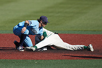 Carter Trice (4) of the Old Dominion Monarchs applies a tag to Will Butcher (18) of the Charlotte 49ers as he attempts to steal second base at Hayes Stadium on April 25, 2021 in Charlotte, North Carolina. (Brian Westerholt/Four Seam Images)