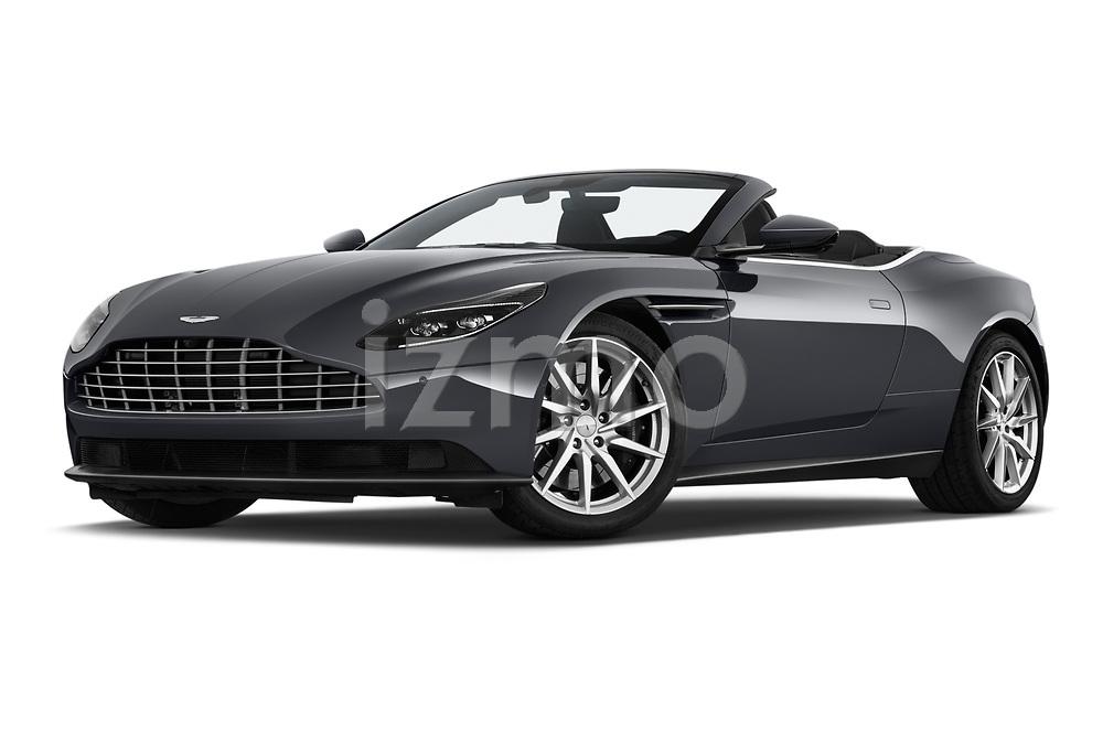 Low aggressive front three quarter view of 2019 Aston Martin DB11-Volante - 2 Door Convertible Low Aggressive
