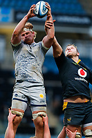 27th March 2021; Ricoh Arena, Coventry, West Midlands, England; English Premiership Rugby, Wasps versus Sale Sharks; Cobus Wiese of Sale Sharks wins a line out from Joe Launchbury of Wasps