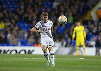 Tommy Carroll of Tottenham Hotspur hits the ball forward during the UEFA Europa League match between Tottenham Hotspur and Qarabag FK at White Hart Lane, London, England on 17 September 2015. Photo by Andy Rowland.