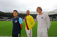 Pictured: Neil Taylor, Chico Flores and Michu<br /> Re: Swansea City FC squad photo-shoot at the Liberty Stadium, south Wales.