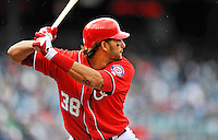 2 April 2011: Washington Nationals outfielder Michael Morse in action against the Atlanta Braves at Nationals Park in Washington, District of Columbia. The Nationals defeated the Braves 6-3 in the second game of their season opening series. Mandatory Credit: Ed Wolfstein Photo