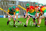 Maurice O'Connor, Kerry in action against David English, Carlow during the Joe McDonagh hurling cup fourth round match between Kerry and Carlow at Austin Stack Park on Saturday.