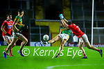 Killian Spillane, Kerry in action against Mattie Taylor, Cork, during the Munster GAA Football Senior Championship Semi-Final match between Cork and Kerry at Páirc Uí Chaoimh in Cork.