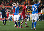 Aberdeen v St Johnstone…27.02.16   SPFL   Pittodrie, Aberdeen<br />Scott Brown holds his head after dragging his shot wide<br />Picture by Graeme Hart.<br />Copyright Perthshire Picture Agency<br />Tel: 01738 623350  Mobile: 07990 594431