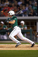 T.J. Nichting (1) of the Charlotte 49ers follows through on his swing against the Georgia Bulldogs at BB&T Ballpark on March 8, 2016 in Charlotte, North Carolina. The 49ers defeated the Bulldogs 15-4. (Brian Westerholt/Four Seam Images)