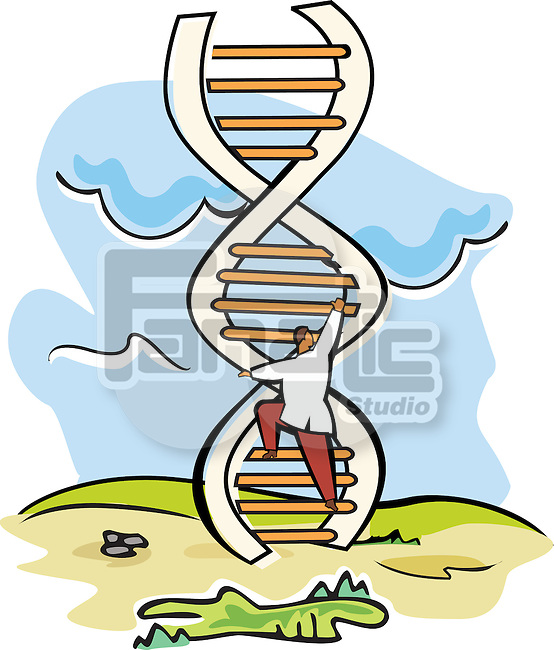 Scientist moving up on a DNA ladder