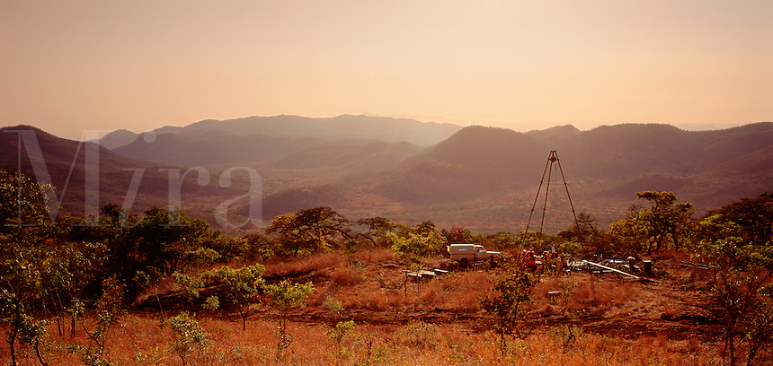 Mineral prospecting in remote area in the bush, East Africa.
