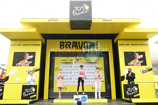 Wout Poels (NED) Bahrain Victorious retains the mountains Polka Dot Jersey at the end of Stage 17 of the 2021 Tour de France, running 178.4km from Muret to Saint-Lary-Soulan Col du Portet, France. 14th July 2021.  <br /> Picture: A.S.O./Pauline Ballet | Cyclefile<br /> <br /> All photos usage must carry mandatory copyright credit (© Cyclefile | A.S.O./Pauline Ballet)