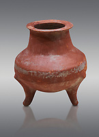 Hittite terra cotta pot on trident legs. Hittite Old Period, 1650 - 1450 BC.  Hattusa Boğazkale. Çorum Archaeological Museum, Corum, Turkey