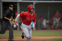 AZL Angels shortstop Jeremiah Jackson (8) hustles down the first base line during an Arizona League game against the AZL Giants Black at the San Francisco Giants Baseball Complex on July 1, 2018 in Scottsdale, Arizona. AZL Giants Black defeated the AZL Angels 4-2. (Zachary Lucy/Four Seam Images)