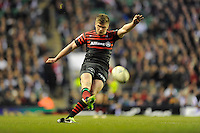 Owen Farrell of Saracens converts Chris Ashton's try during the Heineken Cup quarter final match between Saracens and Ulster Rugby at Twickenham Stadium on Saturday 6th April 2013 (Photo by Rob Munro)