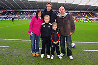 ATTENTION SPORTS PICTURE DESK<br /> Pictured: Paulo Sousa Manager of Swansea City with Mascots <br /> Re: Coca Cola Championship, Swansea City Football Club v Leicester City at the Liberty Stadium, Swansea, south Wales. Saturday 16 January 2010