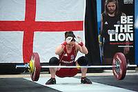 23 FEB 2014 - SMETHWICK, GBR - Sarah Davies (ENG / GBR) of Great Britain and England drops the bar after a failed attempt during the women's 63kg category round at the 2014 English Weightlifting Championships at the Harry Mitchell Leisure Centre in Smethwick, Great Britain. Davies'  final total of 190kg makes her eligible for selection for the England weightlifting team for the 2014 Commonwealth Games  (PHOTO COPYRIGHT © 2014 NIGEL FARROW, ALL RIGHTS RESERVED)