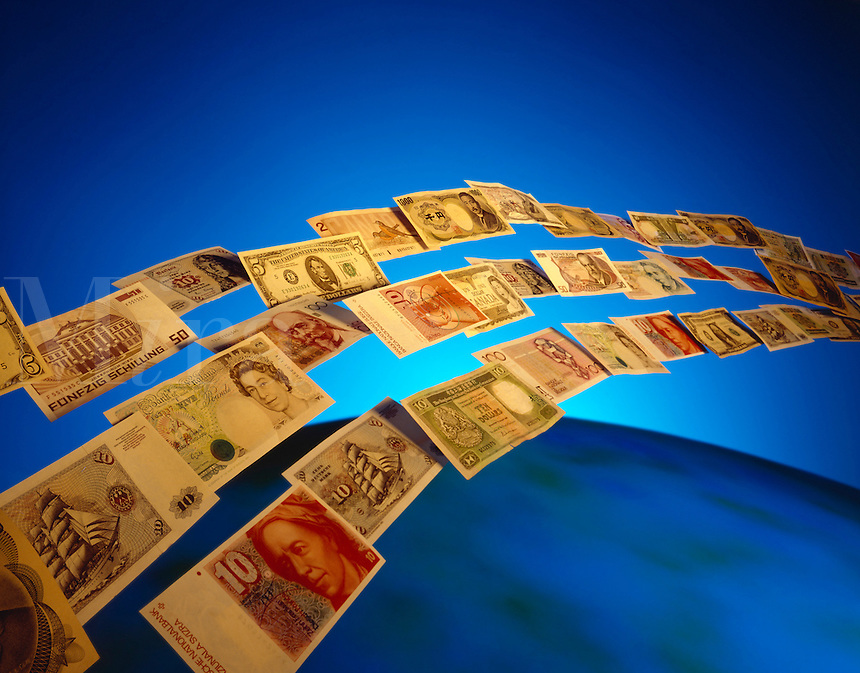 Floating paper money.