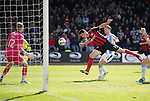 Dundee v St Johnstone...25.04.15   SPFL<br /> Brian Graham can't quite reach Tam Scobbie's cross<br /> Picture by Graeme Hart.<br /> Copyright Perthshire Picture Agency<br /> Tel: 01738 623350  Mobile: 07990 594431