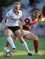 NWA Democrat-Gazette/ANDY SHUPE<br /> Arkansas' Erika Miller (right) and Vanderbilt's Brook Colangelo vie for the ball Thursday, Oct. 6, 2016, during the first half of play at Razorback Field in Fayetteville. Visit nwadg.com/photos to see more photographs from the game.