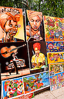 Artists artwork paintings at open air market in Havana Cuba Habana