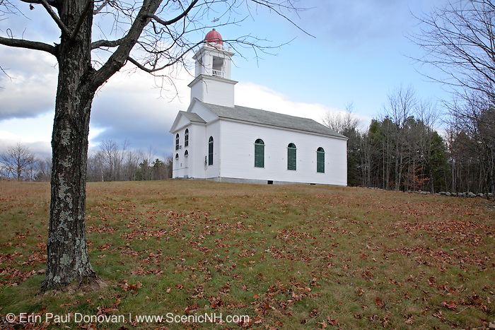Bell Hill Meeting House during the autumn months. Located in Otisfield, Maine USA.This Meetinghouse is listed on the National Register of Historic Places...